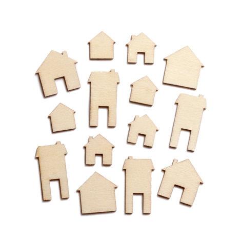 Studio Calico - Memoir Collection - Wood Veneer Pieces - Houses