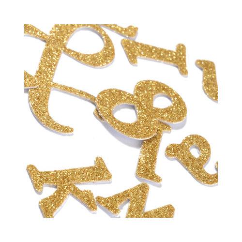 SEI - Metallic Basics - Alphabet Stickers - Glitter - Gold
