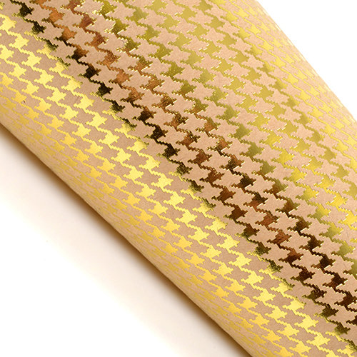 SEI - 12 x 12 Craft Paper with Foil Accents - Gold Houndstooth
