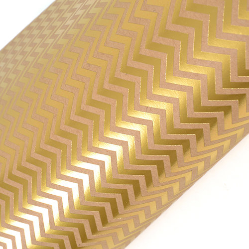 SEI - 12 x 12 Craft Paper with Foil Accents - Gold Chevron