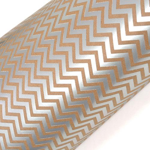 SEI - 12 x 12 Craft Paper with Foil Accents - Silver Chevron
