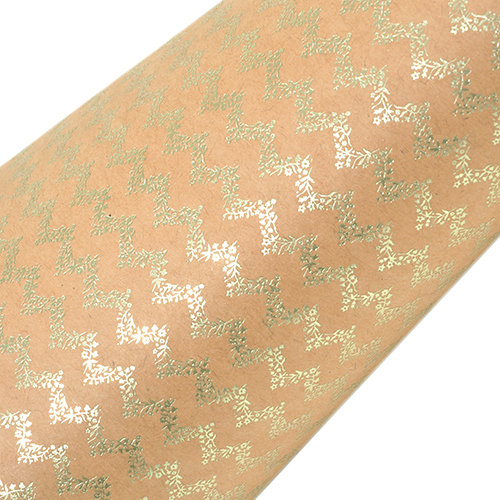 SEI - 12 x 12 Craft Paper with Foil Accents - Green Organic Chevron