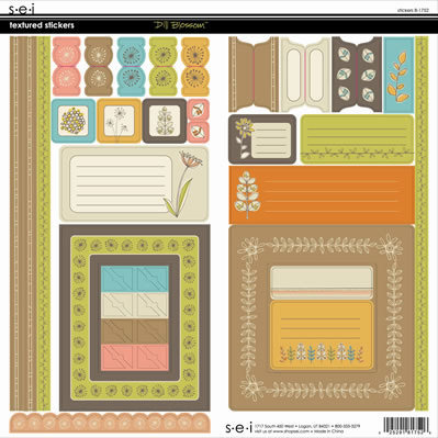 SEI - Dill Blossom Collection - Textured Cardstock Stickers, CLEARANCE