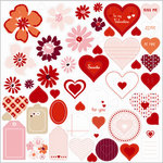 SEI - With All My Heart Collection - Valentine - Die Cut Glitter Accents - Glittering Romance