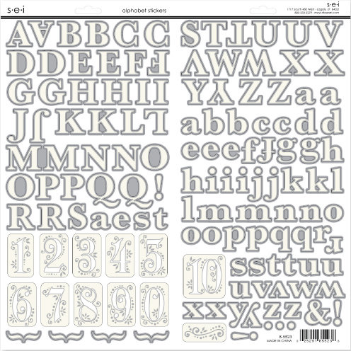 SEI - White Elegance Collection - Silver Foil Cardstock Stickers - Alphabet