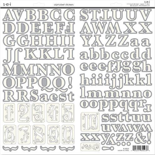 SEI - White Elegance Collection - Silver Foil Cardstock Stickers - Alphabet