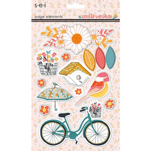 SEI - Vanilla Sunshine Collection - 3 Dimensional Cardstock Stickers - Elements