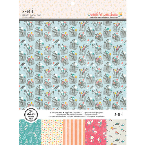 SEI - Vanilla Sunshine Collection - 8.5 x 11 Card Makers Paper Pad with Stickers