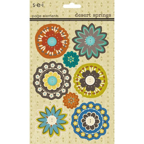SEI - Desert Springs Collection - 3 Dimensional Cardstock Stickers - Elements