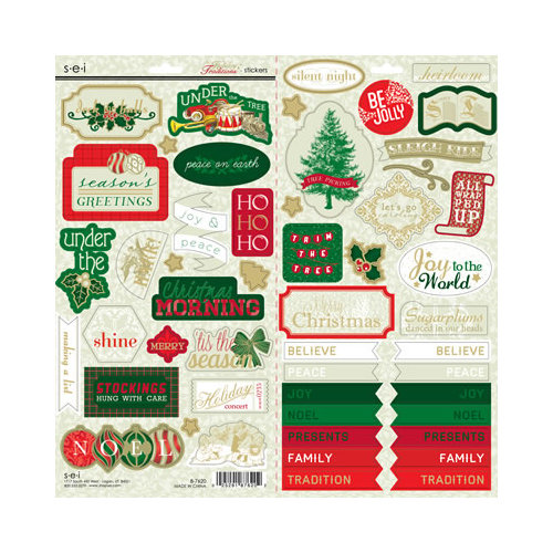 SEI - Holiday Traditions Collection - Christmas - Cardstock Stickers with Foil Accents