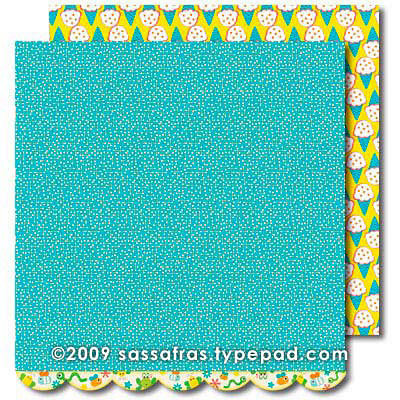 Sassafras Lass - Me Likey Collection - 12 x 12 Double Sided Paper with Border Strip - Dig In