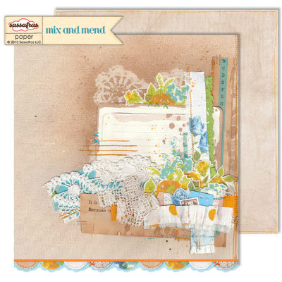 Sassafras Lass - Mix and Mend Collection - 12 x 12 Double Sided Paper - Handmade Hobnob