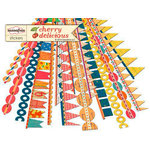Sassafras Lass - Cherry Delicious Collection - 12 x 12 Cardstock Stickers - Flag Banners