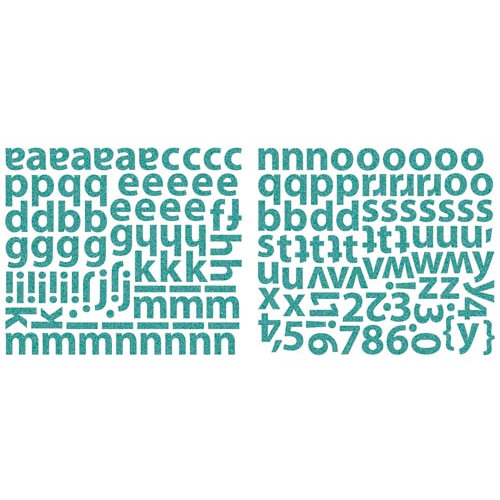 Sassafras Lass - Indie Girl Collection - Glittered Cardstock Stickers - Alphabet - Turquoise