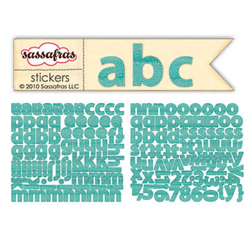 Sassafras Lass - Paper Crush Collection - Cardstock Stickers - Mini Alphabet - Blue Linen