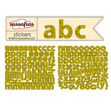 Sassafras Lass - Paper Crush Collection - Cardstock Stickers - Mini Alphabet - Khaki Type