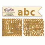 Sassafras Lass - Sunshine Broadcast Collection - Cardstock Stickers - Mini Alphabet - Wood Grain