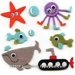 Sassafras Lass - Self Adhesive Felties - Under the Sea, CLEARANCE