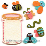 Sassafras Lass - Self Adhesive Felties - Jar of Critters, CLEARANCE
