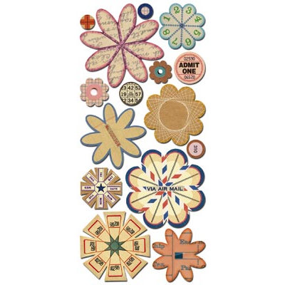 Sassafras Lass - Paper Whimsies - Die Cut Blossoms - Via Air Mail, CLEARANCE