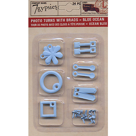 7 Gypsies - Photo Turn Shapes and Brads Kit - Ocean Blue, CLEARANCE