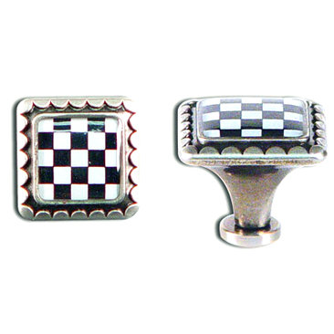 7 Gypsies - Checkerboard Knob - Antique Silver