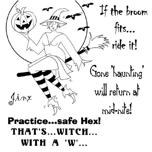 Shirleys 2 Girls - Halloween - Clear Acrylic Stamps - Witch Jinx, BRAND NEW