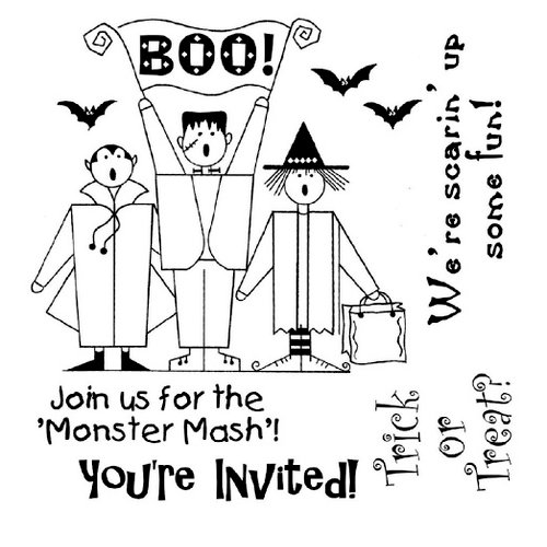 Shirleys 2 Girls - Halloween - Clear Acrylic Stamps - Boo Invite, CLEARANCE