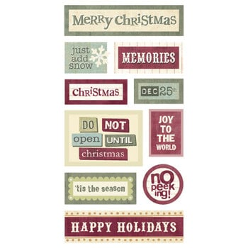 Sandylion - Kelly Panacci Collection - Christmas - 3-Dimensional Stickers - Holiday Word Blocks