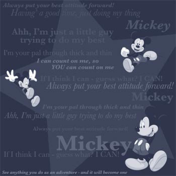 Sandylion - Disney Collection - 12x12 Paper - Mickey - Black Tonal Phrases