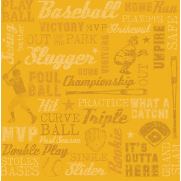 Sandylion - Sports Collection - 12x12 Paper - Baseball Words, CLEARANCE