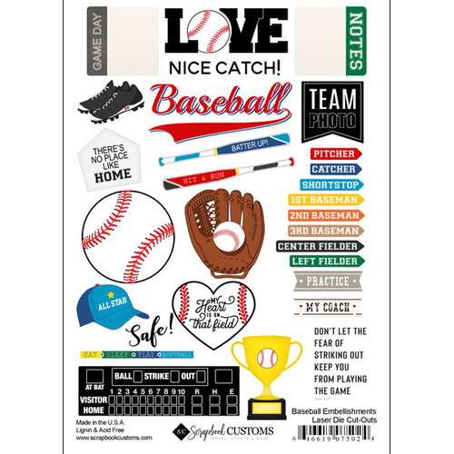 Scrapbook Customs - Sports Addict Collection - Embellishments - Laser Cuts - Baseball