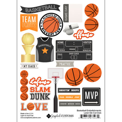 Scrapbook Customs - Sports Addict Collection - Embellishments - Laser Cuts - Basketball
