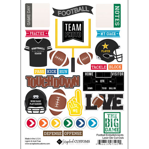 Scrapbook Customs - Sports Addict Collection - Embellishments - Laser Cuts - Football