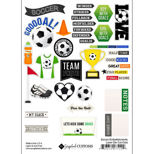 Scrapbook Customs - Sports Addict Collection - Embellishments - Laser Cuts - Soccer