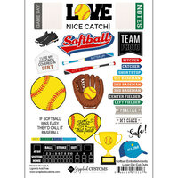 Scrapbook Customs - Sports Addict Collection - Embellishments - Laser Cuts - Softball