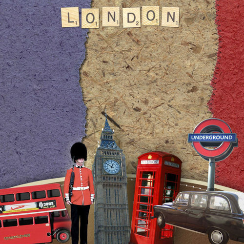 Scrapbook Customs - World Collection - England - 12 x 12 Paper - London