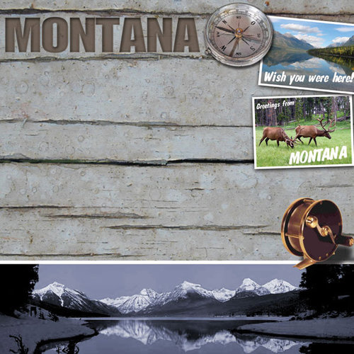 Scrapbook Customs - United States Collection - Montana - 12 x 12 Paper