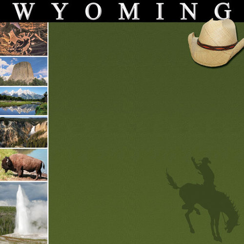 Scrapbook Customs - United States Collection - Wyoming - 12 x 12 Paper
