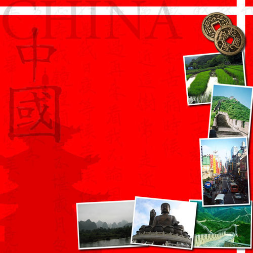 Scrapbook Customs - World Collection - China - 12 x 12 Paper