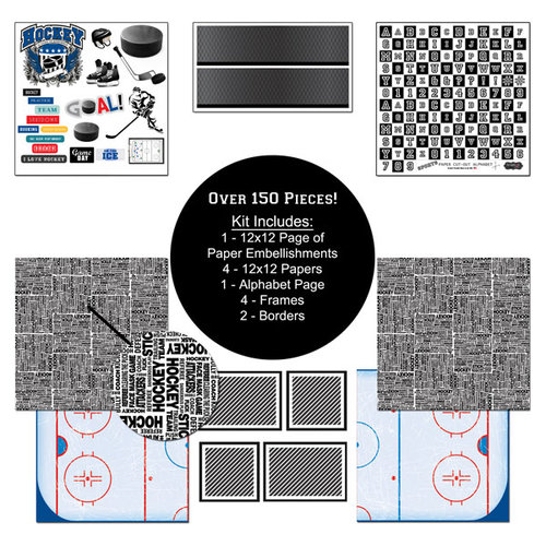 Scrapbook Customs - Sports Collection - 12 x 12 Paper Kit - Hockey
