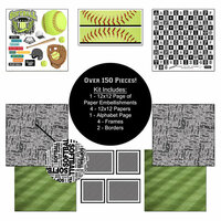 Scrapbook Customs - Sports Collection - 12 x 12 Paper Kit - Softball