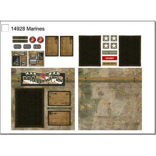 Scrapbook Customs - Military Collection - 12 x 12 Page Kit - Marines