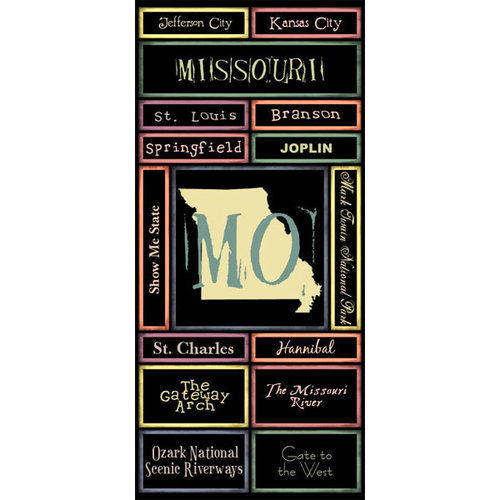 Scrapbook Customs - United States Collection - Missouri - Cardstock Stickers - Map