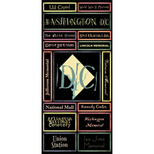Scrapbook Customs - United States Collection - Washington DC - Cardstock Stickers - Map
