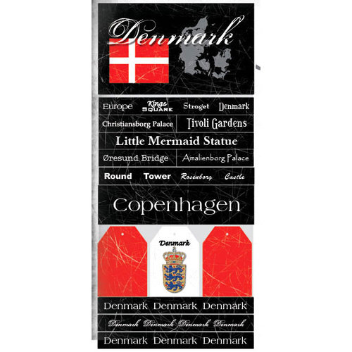 Scrapbook Customs - World Collection - Denmark - Cardstock Stickers - Scratchy