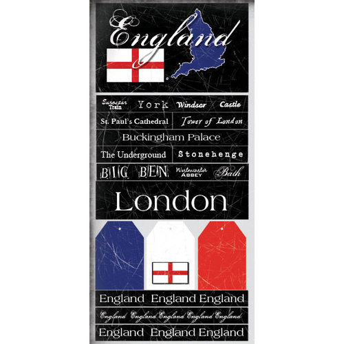 Scrapbook Customs - World Collection - England - Cardstock Stickers - Scratchy