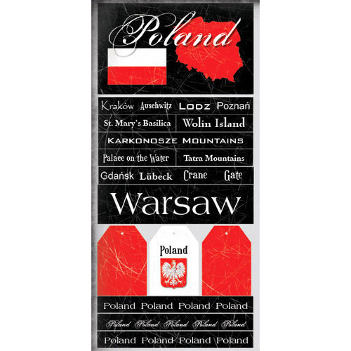 Scrapbook Customs - World Collection - Poland - Cardstock Stickers - Scratchy