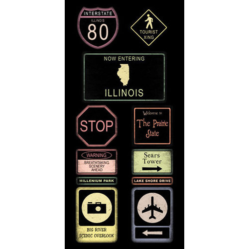 Scrapbook Customs - United States Collection - Illinois - Cardstock Stickers - Road Signs