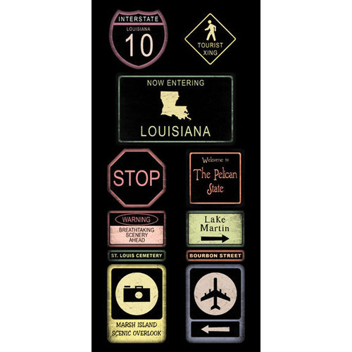 Scrapbook Customs - United States Collection - Louisiana - Cardstock Stickers - Road Signs